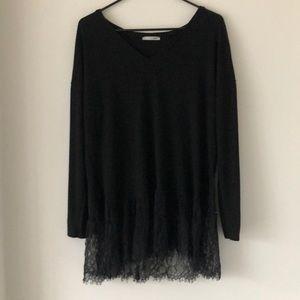 Zara Lace Hem Sweater